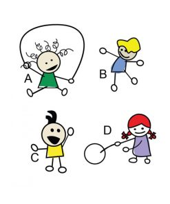 sticker-four-playful-children