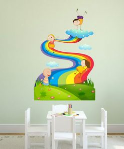 sticker-children-play-on-the-rainbow