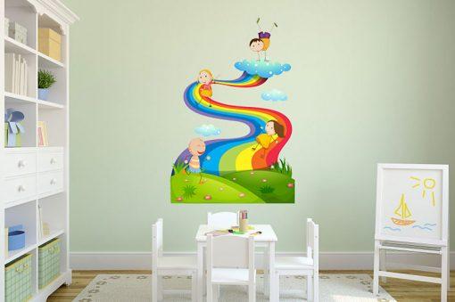 sticker-children-play-on-the-rainbow