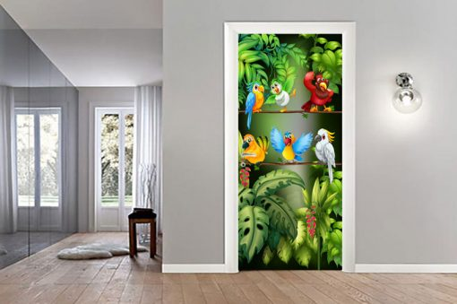 sticker-parrots-in-the-jungle