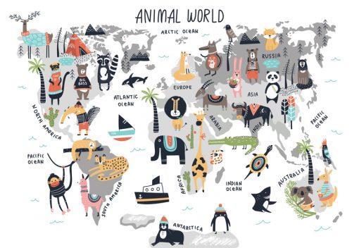 sticker-map-animal-world